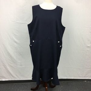 LOFT Navy Pearl Button Ruffle Trim Dress